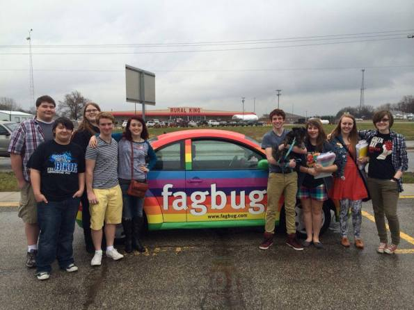 Members of the CHS gay-straight alliance pose with the Fagbug.